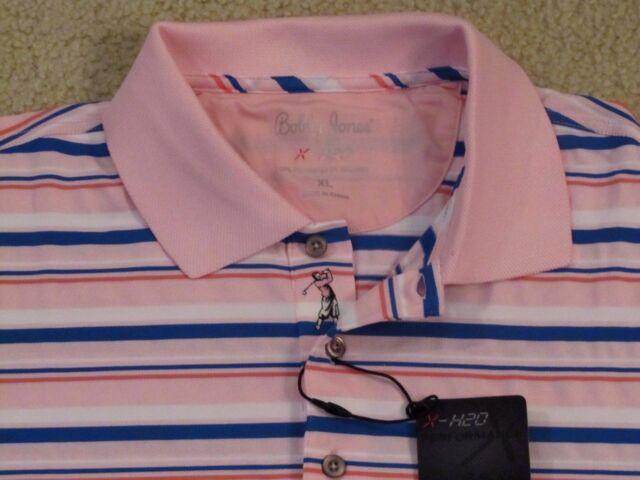 c8c7ef0a Bobby Jones Pale Pink H20 Polyester Striped Knit Polo Shirt L Large ...