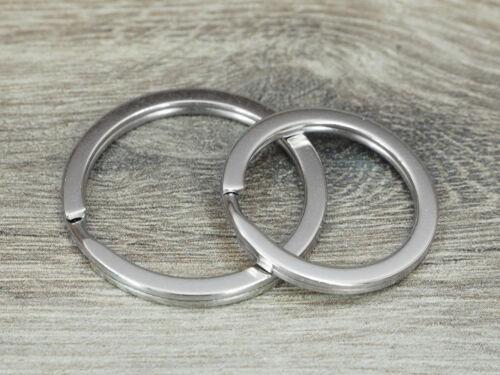 30mm gehärtet 100 Stück Schlüsselringe Design flach silber 25mm o