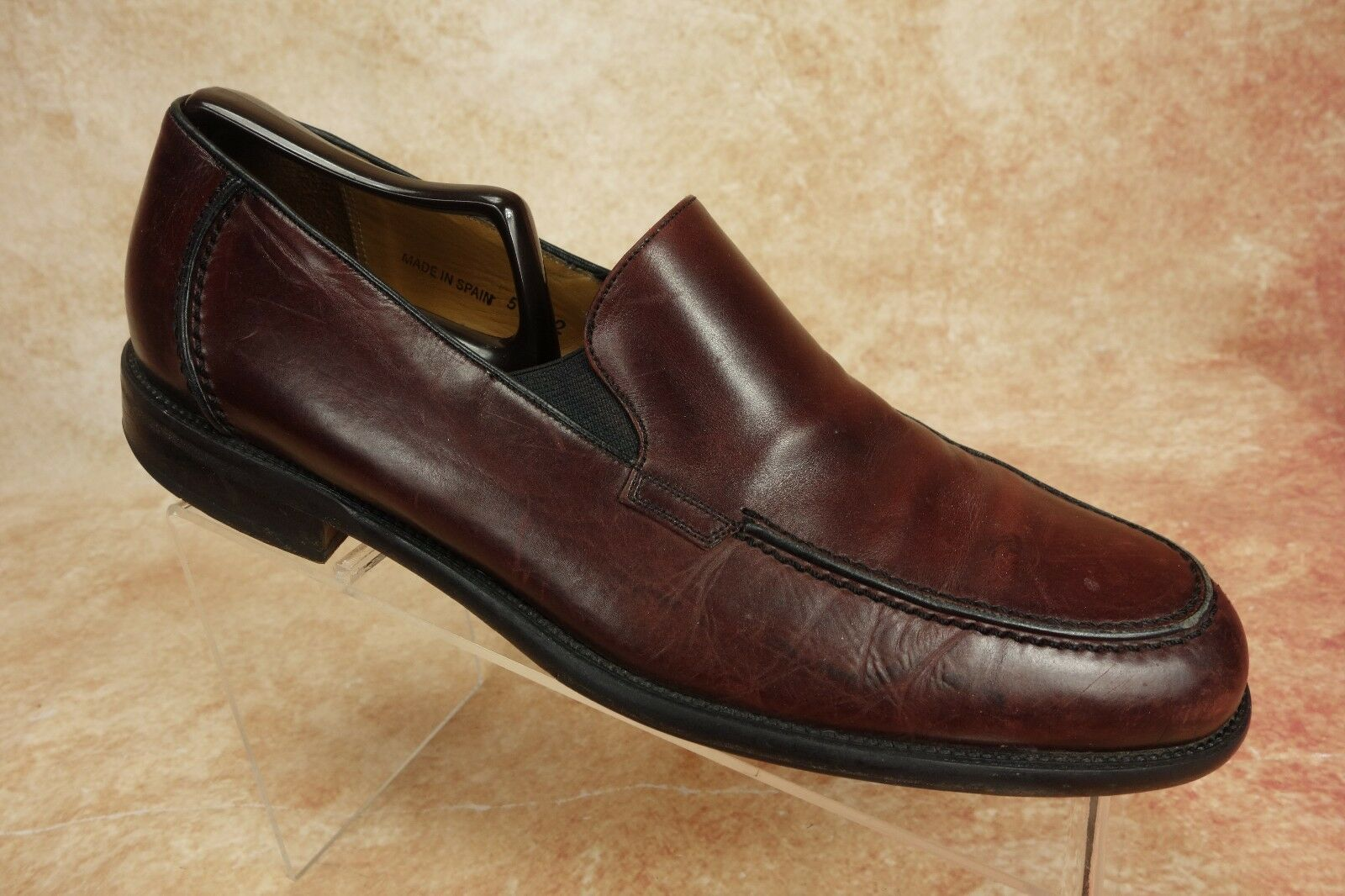 Mezlan Toscana Burgundy Leather MocToe Dress Venetian Loafers Mens Size 9M Spain