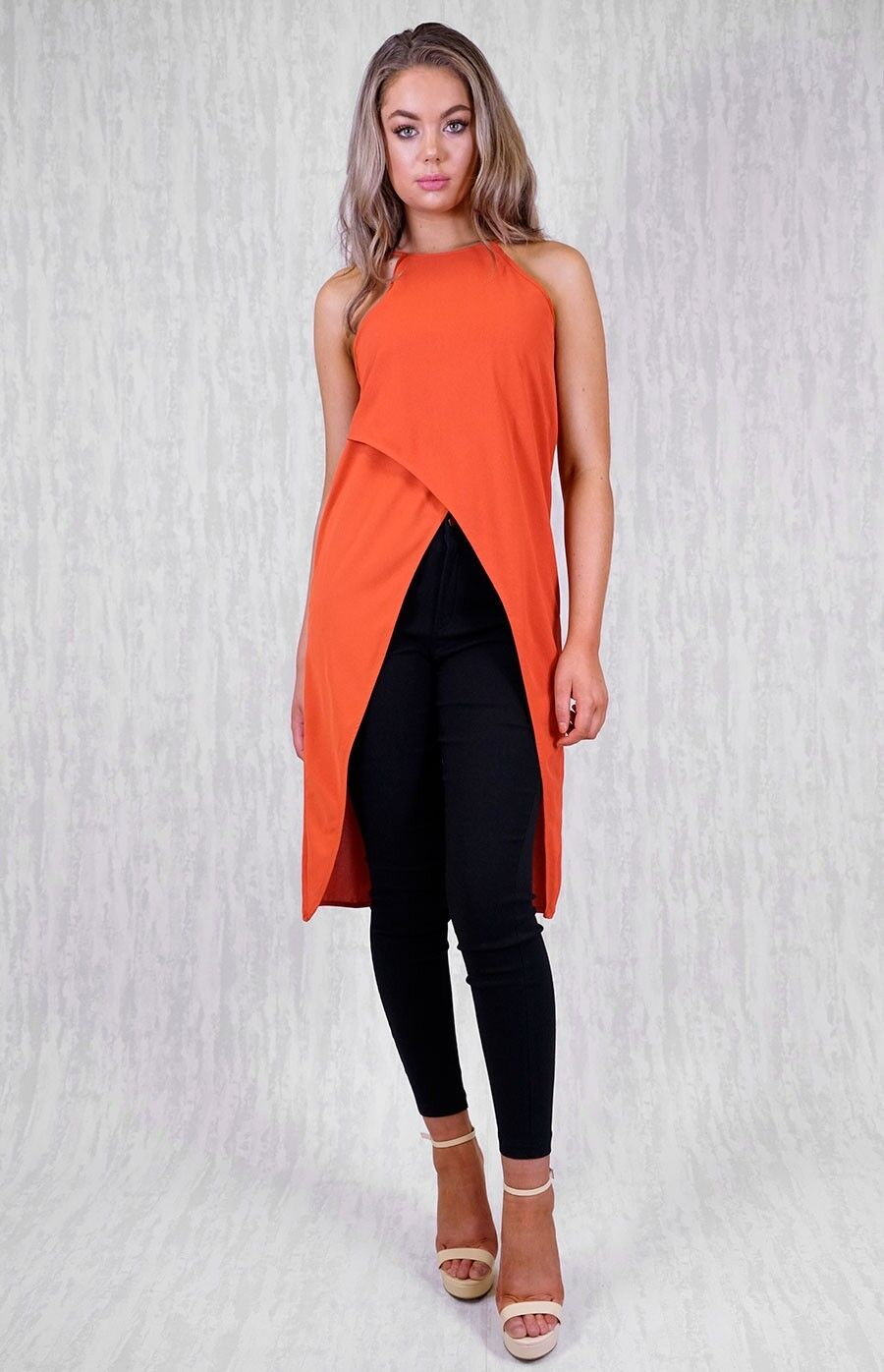HIGH LOW ASYMMETRICAL CredVER TOP IN RUST