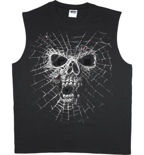 Men/'s sleeveless shirt spider web skull decal design muscle tee tank top