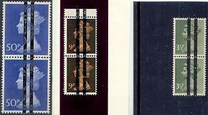 GB-1970-1-Machin-3-1-2-P-9-P-u-50-P-postfr-Paare-m-Postschule-Balkenueberdruck