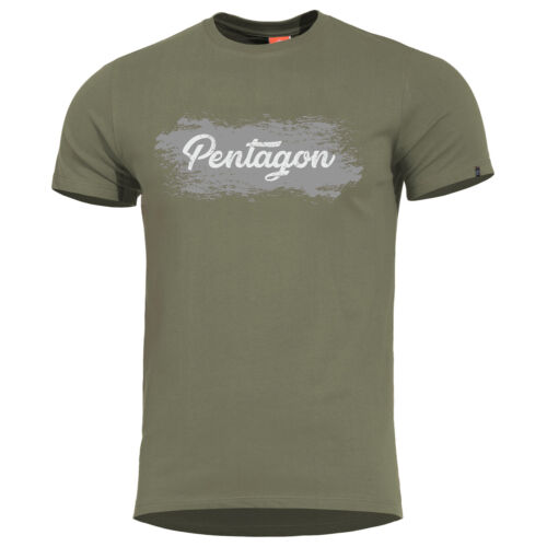 Pentagon Ageron Grunge T-Shirt Mens Cotton Work Sport Casual Crew Neck Top Olive