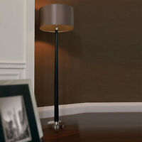 Endon Chasselas 1 Light Floor Lamp In Walnut/silver Plate With Faux Silk Shade