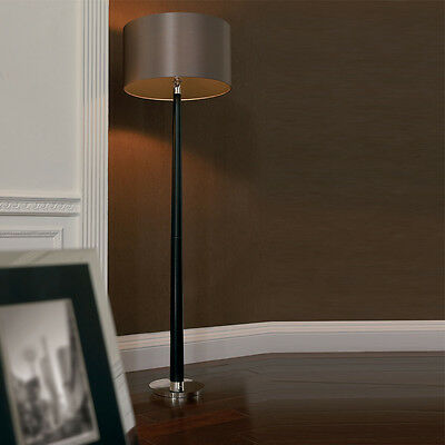 Hardwerkend Endon Chasselas 1 Light Floor Lamp In Walnut/silver Plate With Faux Silk Shade Verfrissing