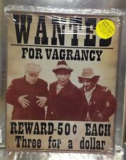 "12"" X 15"" TIN SIGN WANTED FOR VAGRANCY REWARD THREE STOOGES METAL SIGN NEW"