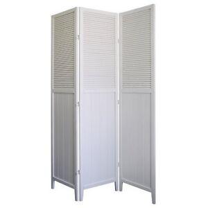 Plain White Room Divider Screen