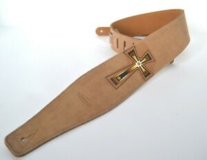 CLEARWATER-GUITAR-STRAP-ELECTRIC-ACOUSTIC-BASS-BROWN-SUEDE-WITH-CELTIC-CROSS