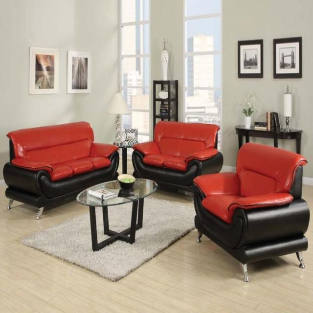 Acme Furniture Orel Black and Red Sofa and Loveseat