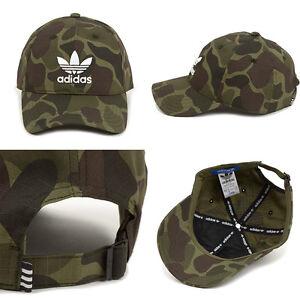 3ec8c71324a Adidas Originals Mens Camo Baseball Cap BNWT Trefoil Pre Curved Hat ...