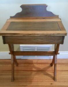 Image Is Loading Antique Wood Childs Double Flip Top Desk