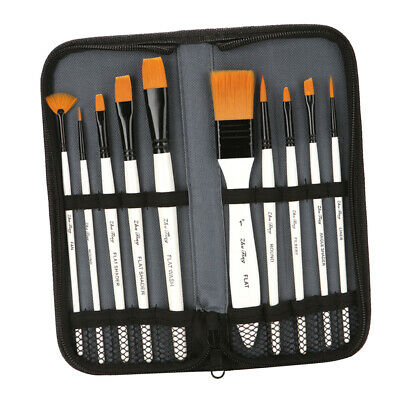 26x Angled Flat Round Tipped Brushes Art Angular Paint Brush Set Acrylic Oil