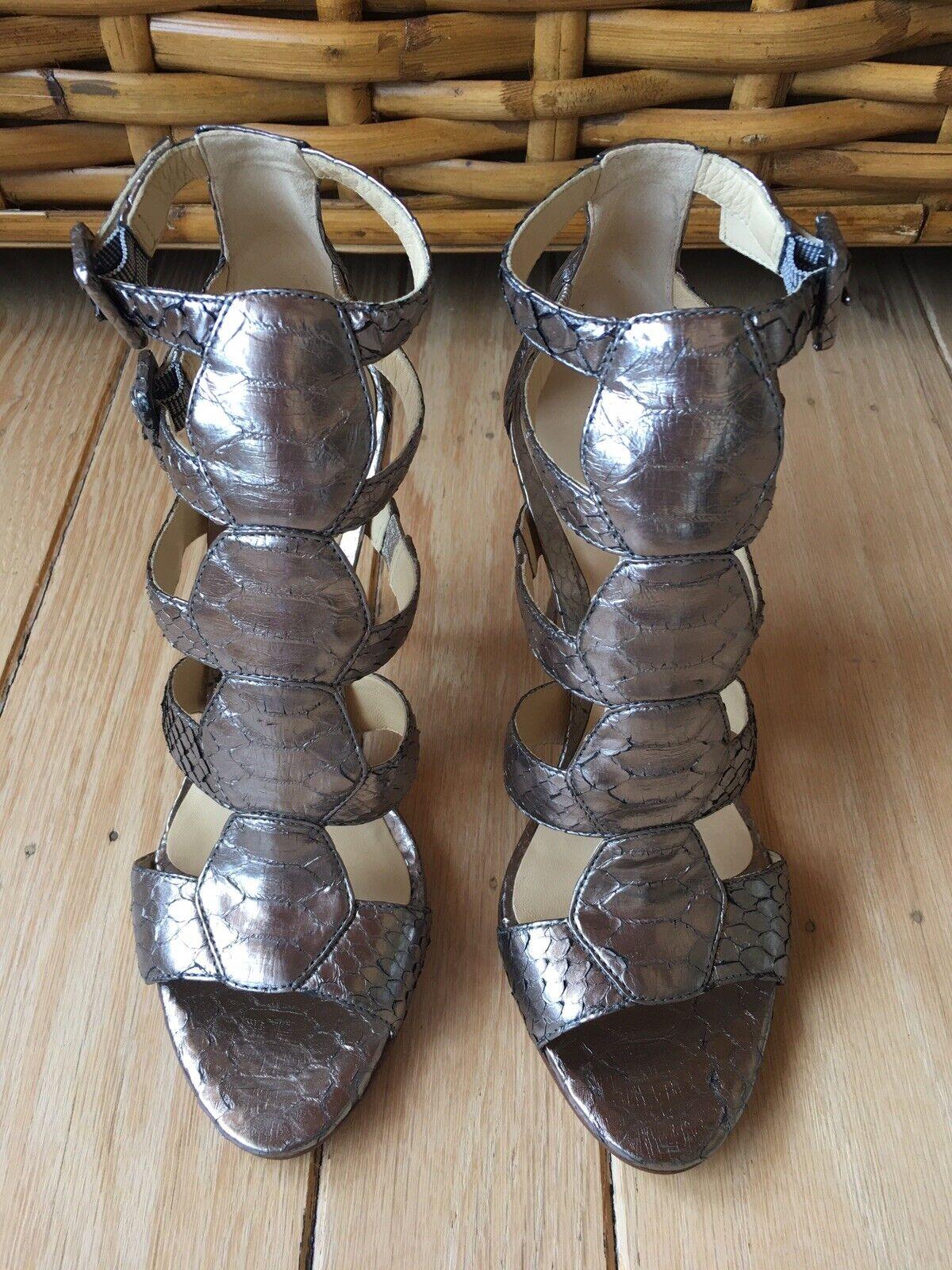 ALEXANDRE BIRMAN NWT Womens 37.5,7,7.5 Multicolor Snakeskin High Heel Shoes