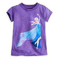 DISNEY STORE ELSA STRIPED HEATHERED TEE NWT GIRLS SIZE 7/8 GLITTER ACCENTS