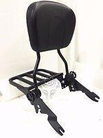 Detachable Backrest Sissy Bar & Rack For Harley Touring Glide Flt Fl 09-up Black