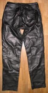 fette-034-POLO-034-LEDERJEANS-Biker-Lederhose-in-schwarz-in-ca-W31-034-L35-034