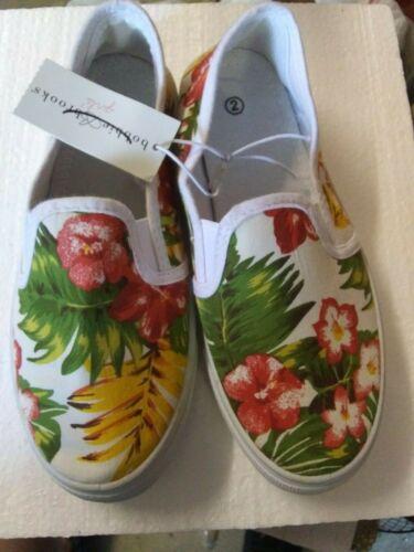 E13 Girls Bobbie Brooks Slip on Canvas Summer Tennis shoes-Tropical Floral-NWT-