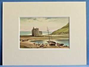 LOCH-RANZA-CASTLE-AND-OLD-BOATS-ARRAN-SUPERB-QUALITY-ANTIQUE-MOUNTED-CHROMO