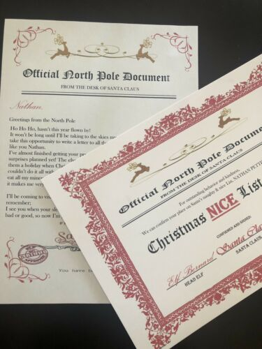 Personalised Vintage Letter from Santa Father Christmas /& Nice List Certificate