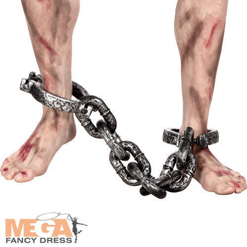 Ankle Shackles Fancy Dress Prisoner Convict Robber Adults Costume Accessory New