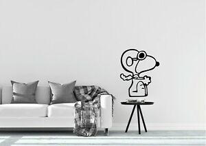 Snoopy-pilot-Sitting-Wall-Art-Home-Decor-Flying-Retro-Decal-Vinyl-Sticker