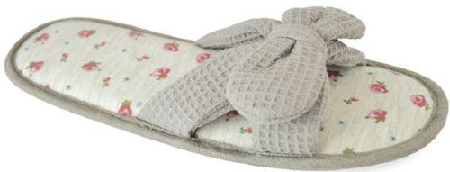 Ladies Waffle Slippers Mule Hotel Spa Slides Slip On Loungewear UK Sizes 3-8