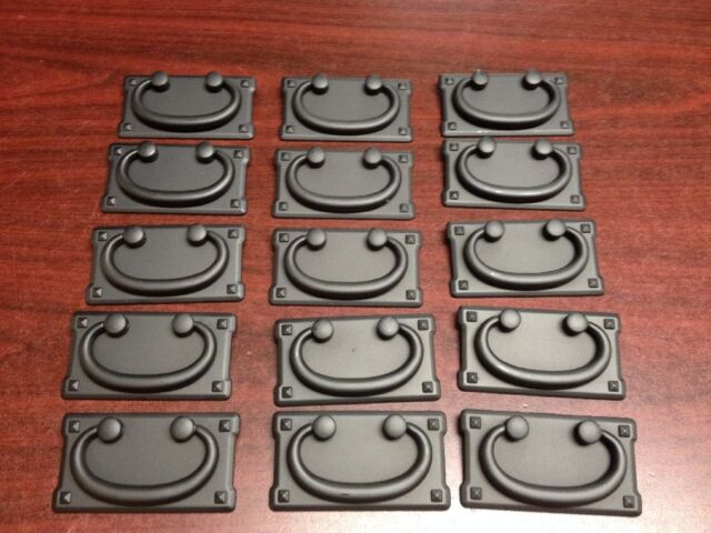 26 Black drawer pulls, cabinet chest hardware, vintage Old Mission Bail style.