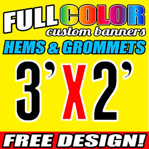 Custom 3' x 2' FT Banner 16oz Vinyl/Flex Outdoor premium Quality Advertise Sign