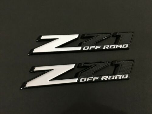 Z71 OFF ROAD Emblem Badge Sticker Silverado Sierra Gloss Black White 2 Pcs