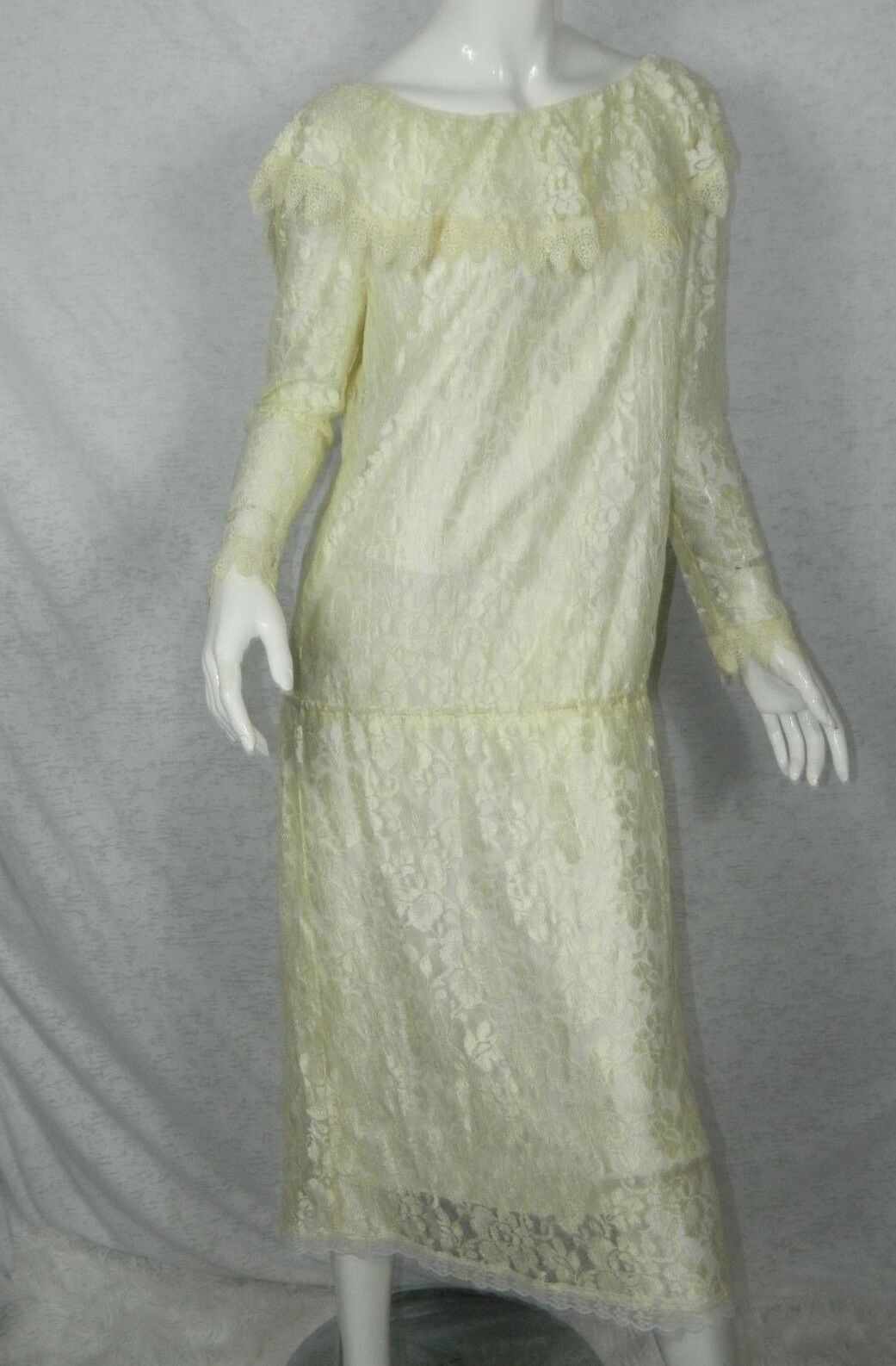 Jessica McClintock Gunne Sax Dress Ivory Lace Victorian Flapper Gown Größe Medium