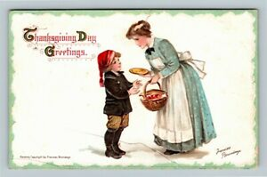 Thanksgiving-Day-Boy-Getting-a-Pie-a-s-Frances-Brundage-Vintage-c1912-Postcard