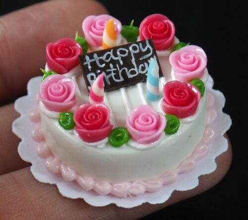 Dollhouse Miniature A Sweet Birthday Cakes Rose Top Food Deco Bakery 30 mm.