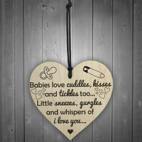 Babies Love Cuddles Kisses Tickles Wooden Hanging Heart Baby Shower Birth Plaque