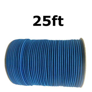 25ft 1/4 Blue Shock Cord Marine Grade Bungee Heavy Duty Tie Down Stretch Rope