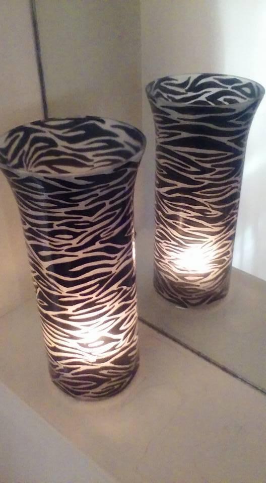 Set Of 2 Tall glass Hand painted Zebra Vase & Candle Holder dinner light & gift