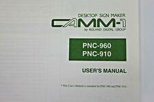 Roland Camm 1 Pnc 960 Pnc 910 Plotter Cutter Owners Manual