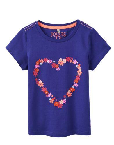 *BNWT Joules Girls Maggie Applique Pool Blue Heart T-Shirt Flowers Pretty Cute