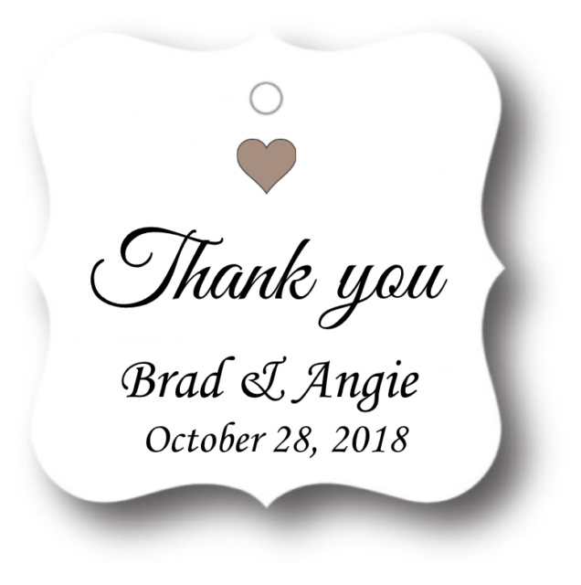 50 Thank You Personalized Wedding Favor Tag Gift Tags Bridal Shower