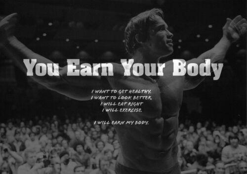 Arnold Schwarzenegger 1 Print Motivation Quote Actor Model Poster Black White