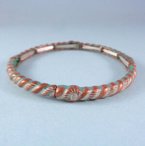 Verdigris-amp-Copper-Filigree-Vintage-Antique-Designer-Look-Stretch-Bracelet-USA