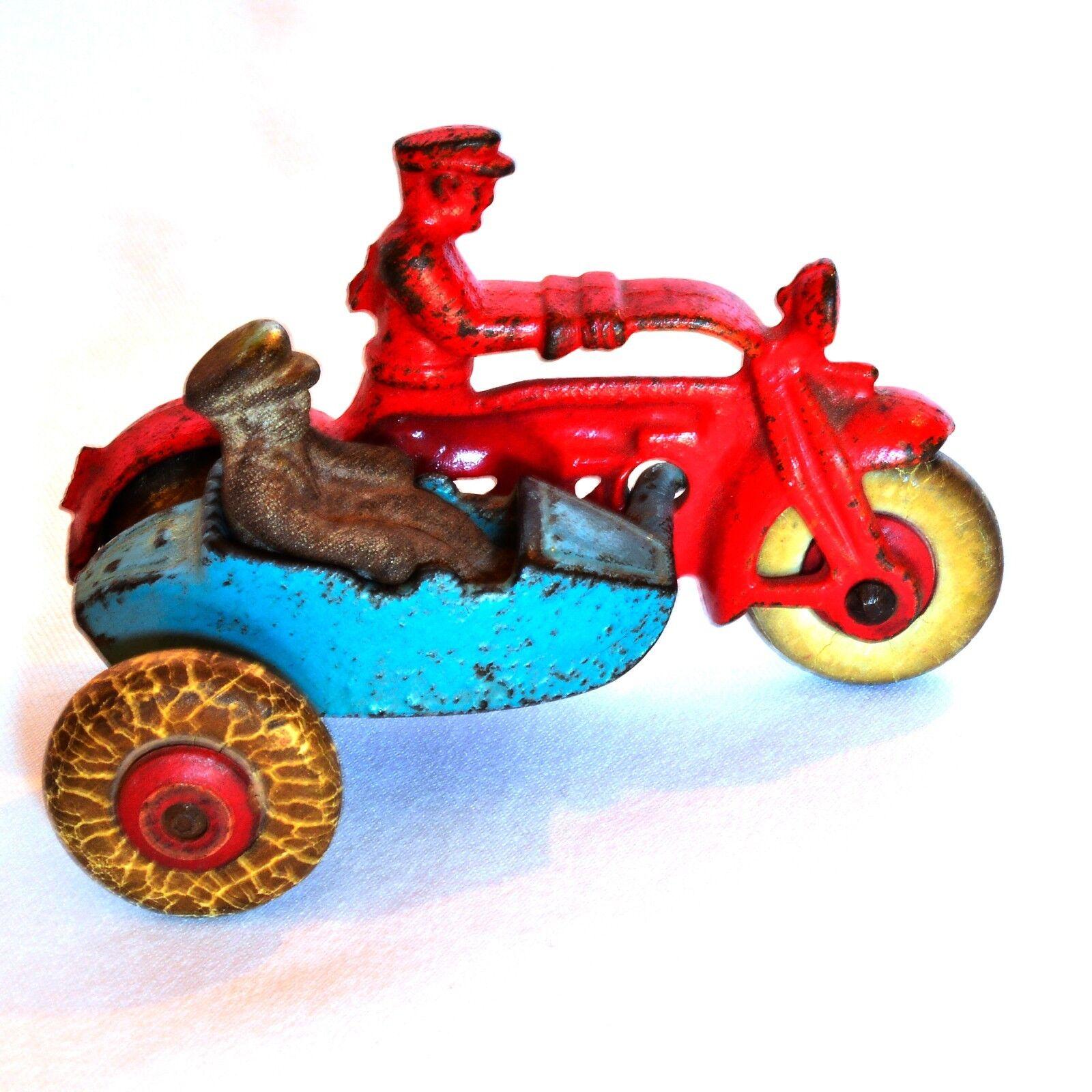 Hierro fundido antiguos Hubley Motocicleta policías W Sidecar temprano 20th C W figura de níquel