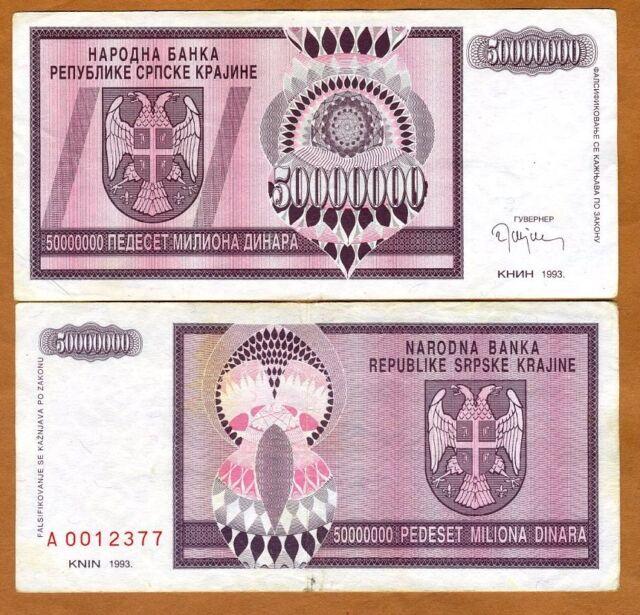 Croatia, Knin 50,000,000 Dinara, 1993, Pick R14, XF