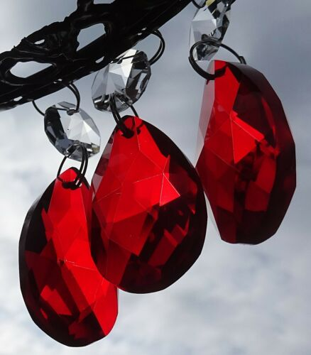 Red Orange granos araña de cristales de vidrio gotas Feng Shui Sun atrapasueños Gotas
