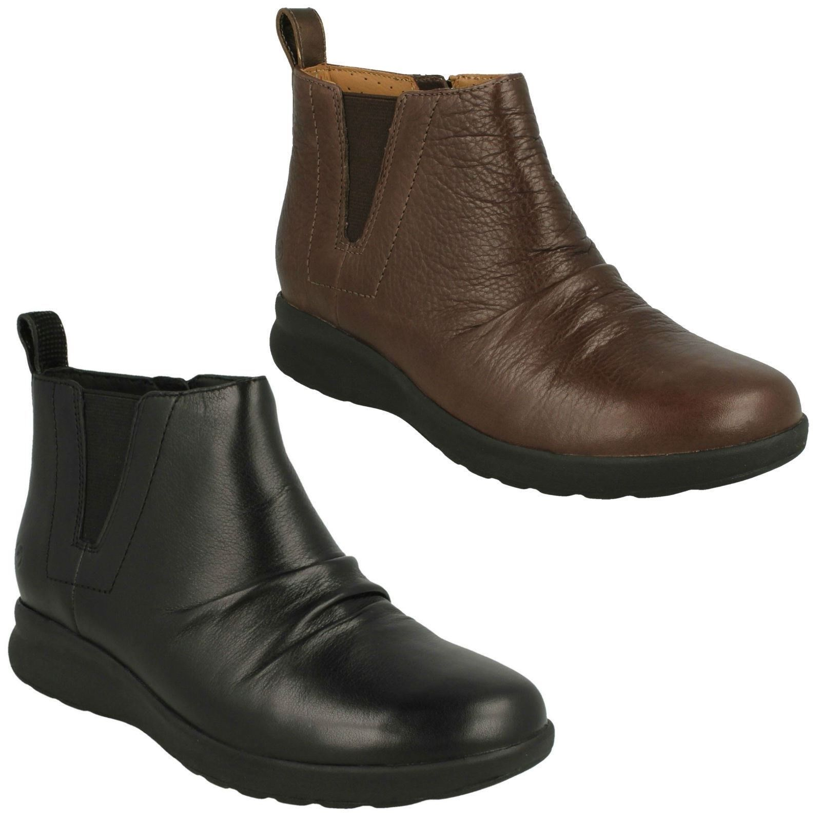 UN ADORN MID LADIES UNSTRUCTUrot Clerchen ZIP LEATHER  EVERYDAY ANKLE CASUAL Stiefel