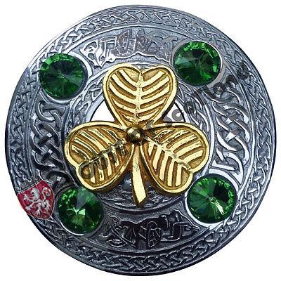 """Highland Fly Plaid Broche Vert Irlandais Pierre Chrome Écossais Kilt Pin Broches 3/"""""""