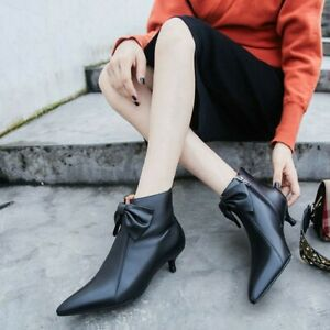 92c364869a Women's Leather Bow Ankle Boots Kitten Heels Pointed Toe Shoes ...