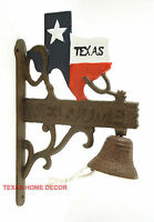 Texas Map Dinner Bell Cast Iron Welcome Western Wall Decor Rustic Brown Finish