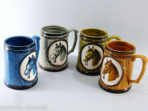 Ensoleillé Vintage ! Set De 4 Mugs En Ceramique, Tête De Chevaux, Tasses, Choppes Texture Nette