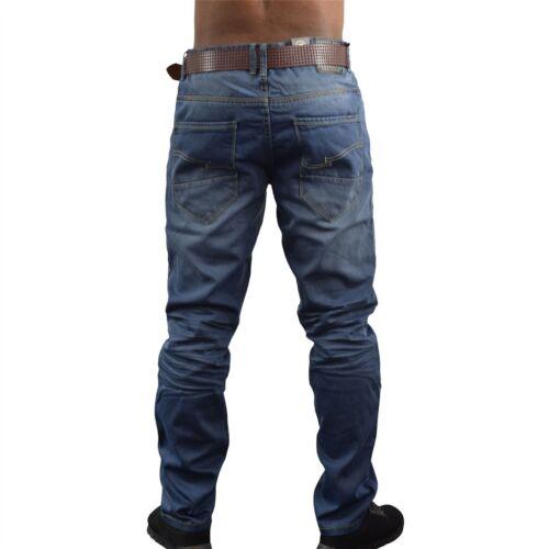 NUOVO Da Uomo Designer Crosshatch FARROW Gamba Dritta Blu Jeans Denim Con Cintura Casual