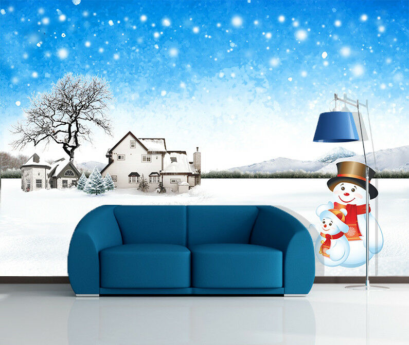 3D Snowman Family 53 Wallpaper Murals Wall Print Wallpaper Mural AJ WALL US
